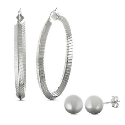 Imagen de Silver-Tone Stainless Steel 50/8mm Hoop and Ball Stud Earring Set