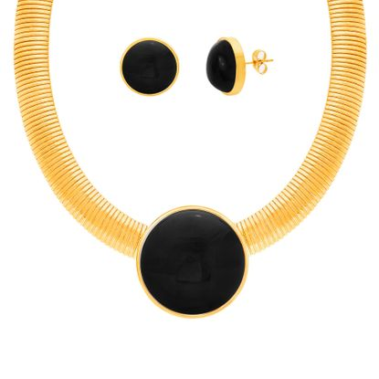 Imagen de Gold-Tone Stainless Station Round Black Pearl Pendant Collar Necklace and Earring Set