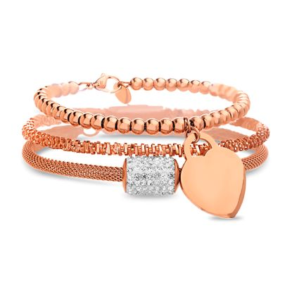 Imagen de Rose-Tone Stainless Steel 3pc Crystal Rondelle/Heart Lock Charm Mesh Chain/Bead Chain/Twisted Wire Chain Bracelet Set