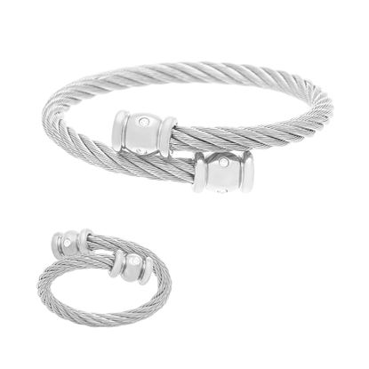 Imagen de Silver-Tone Stainless Steel Crystal Ends Twisted Wire Bypass Ring & Bracelet Set