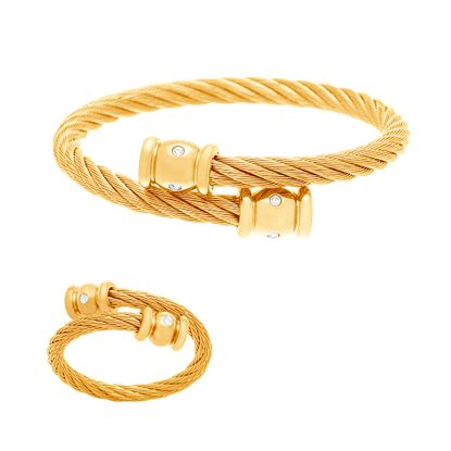 Imagen de Gold-Tone Stainless Steel Twist Texture Cubic Zirconia Bezel Bangle and Ring Set