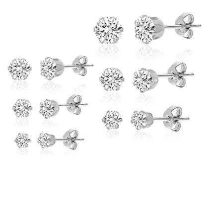 Imagen de Silver-Tone Stainless Steel 6 Pair Stud Earring Set