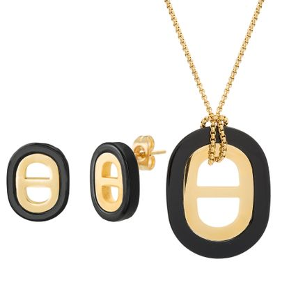 Picture of Gold-Tone Stainless Steel Black Oval Necklace and Earrings Set