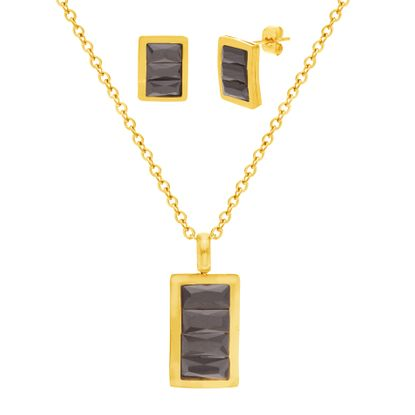 Picture of Gold-Tone Stainless Steel Black Cubic Zirconia Rectangle Earring and Necklace Set