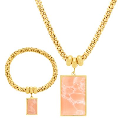 Imagen de Gold-Tone Stainless Steel Rectangular Pink Quartz Bracelet and Necklace Set