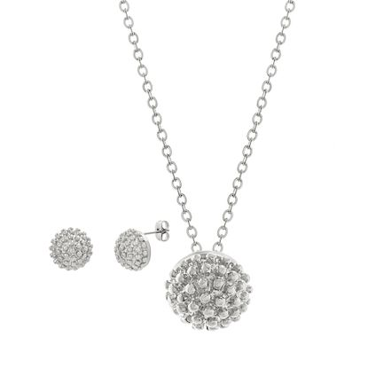 Imagen de Silver-Tone Stainless Steel Beaded Ball Necklace and Earring Set