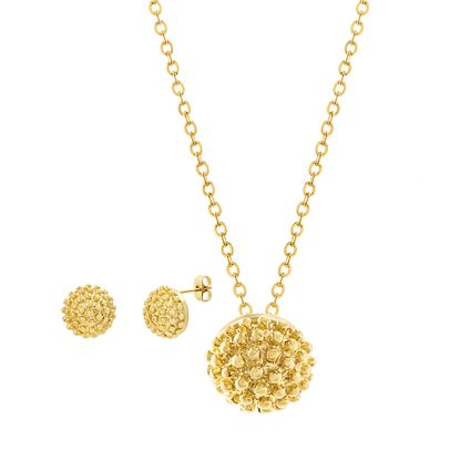 Imagen de Gold-Tone Stainless Steel Beaded Ball Necklace and Earring Set
