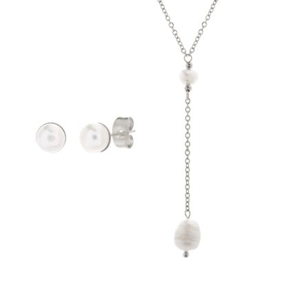 Imagen de Silver-Tone Stainless Steel Dangling Freshwater Pearl Ball Charm & Pendant Cable Chain Necklace and Post Earring Set