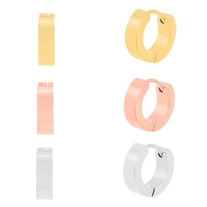 Imagen de Tri-Tone Stainless Steel Three Piece Huggie Earring set