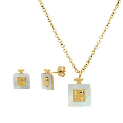 Imagen de Gold-Tone Stainless Steel Cubic Zirconia Square Mother of Pearl Perfume Bottle Pendant 18 Cable Chain Necklace and 12mm Post Earring Set