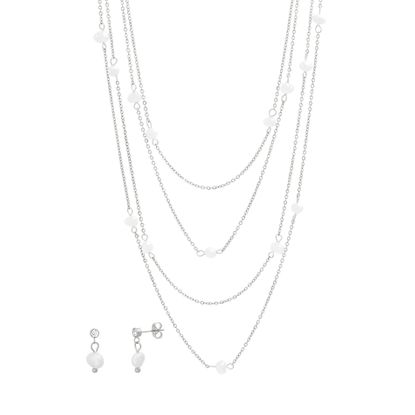 Imagen de STAINLESS STEEL PEARL BY THE YARD 18+14.5+16 CABLE CHAIN NECKLACE & PEARL POST EARRING SET