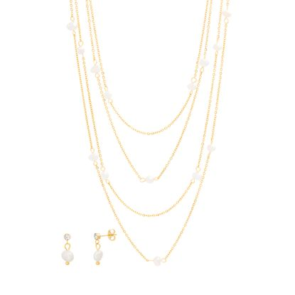 Imagen de STAINLESS STEEL GOLD IP PEARL BY THE YARD 18+14.5+16 CABLE CHAIN NECKLACE & PEARL POST EARRING SET