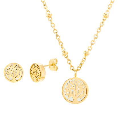 Picture of Gold-Tone Stainless Steel Freshwater Pearl Tree of Life Bead Station Cable Chain Necklace & Earring Set