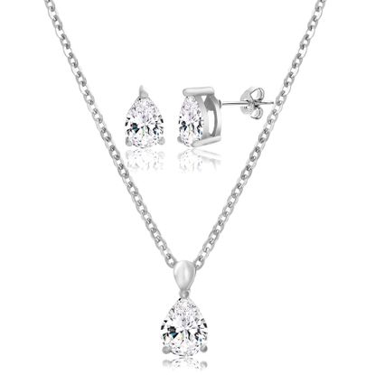 Imagen de Silver-Tone Stainless Steel Teardrop Crystal Post Earring/Cable Chain Necklace Set