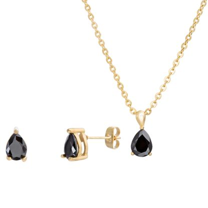 Imagen de Gold-Tone Stainless Steel Teardrop Black Crystal Cable Chain Necklace/ Post Earring Set