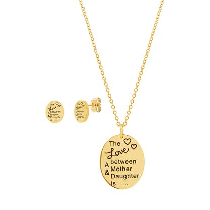 Imagen de Gold-Tone Stainless Steel Round Inspirational Pendant Cable Chain Necklace and Post Earring Set