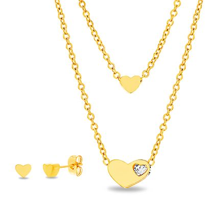 Imagen de Gold-Tone Stainless Steel Crystal Heart Station Double Layer Cable Chain Necklace & Earring Set