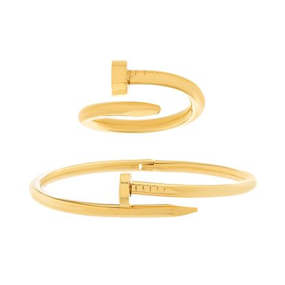 Imagen de Gold-Tone Stainless Steel 2pc Nail Design Bypass Bangle and Ring Size 6 Set
