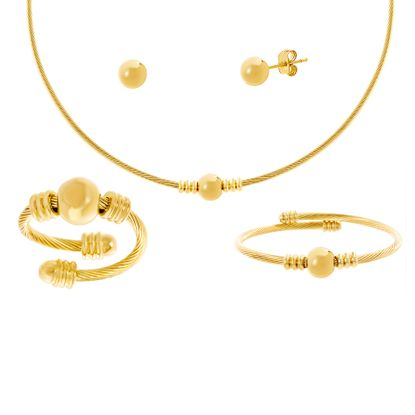 Imagen de Gold-Tone Stainless Steel Polished Ball Wired Chain Ring/Bangle/Necklace/Post Earring Set