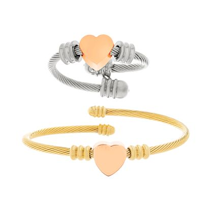 Imagen de Gold-Tone Stainless Steel Heart Charm Twisted Bypass Bangle and Ring Set