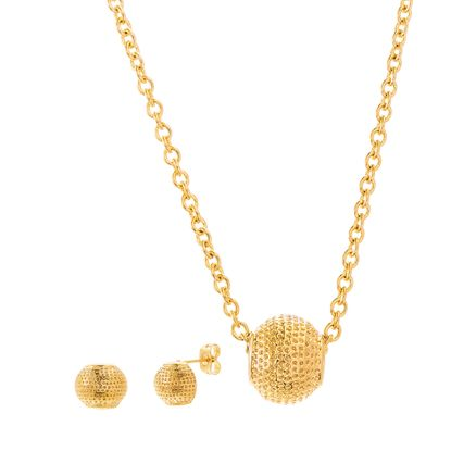 Imagen de Gold-Tone Stainless Steel Textured Rondelle Pendant Cable Chain Necklace & Earring Set
