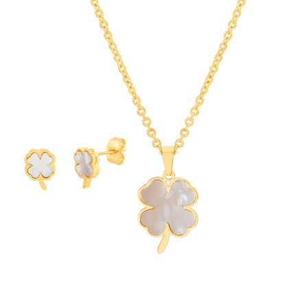 Imagen de Gold-Tone Stainless Steel Mother Of Pearl Four Leaf Clover Cable Chain Necklace and Post Earring Set