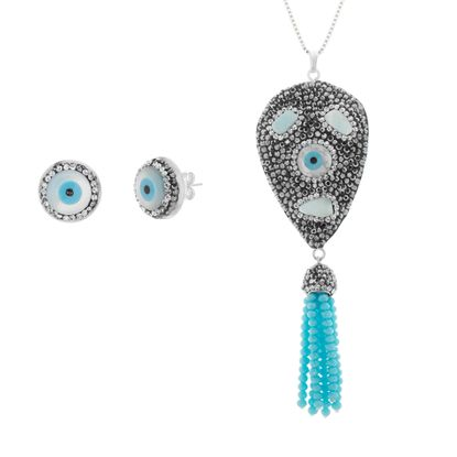 Picture of Silver-Tone Stainless Steel Multicolored Crystal Evil Eye & Tassel Dangle Ball Chain Necklace/ Post Earring Set