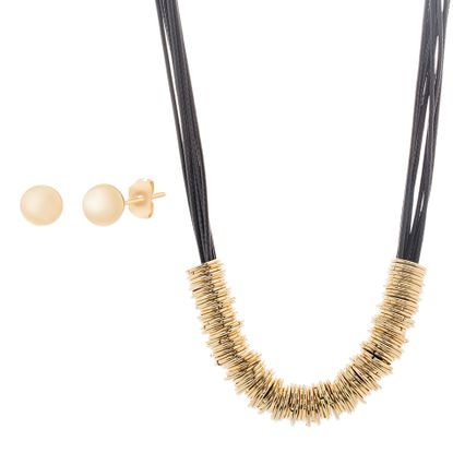 Imagen de Multilayered Rings Black Cord Necklace and Stud Earring Set in Gold IP Stainless Steel