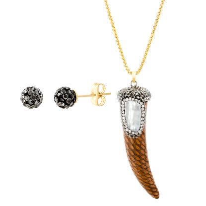 Imagen de Gold-Tone Stainless Steel Geo Shaped Mother of Pearl Crystal Border Brown Leather Horn Pendant Cable Chain Necklace & Earring Set
