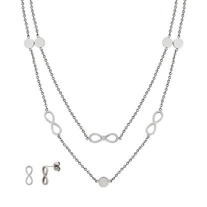 Imagen de Silver-Tone Stainless Steel Infinity Symbol/Disc Stations Double Layered Cable Chain Necklace & Earring Set