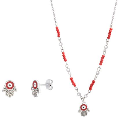 Imagen de Red Stone and Faceted Crystal Hamsa Necklace and Earring Set in Stainless Steel