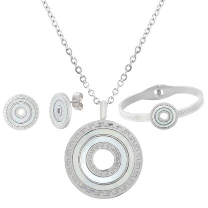 Imagen de Mother of Pearl Greek Key Design Open Circle Pendant on Cable Chain Necklace Bangle & Earring Set in Stainless Steel
