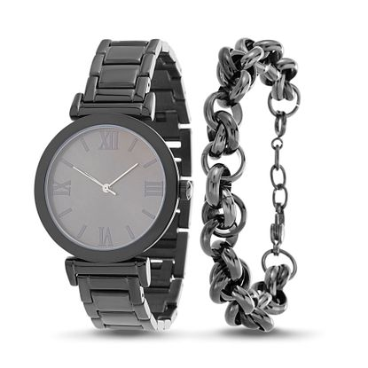 Imagen de Black-Tone Stainless Steel Roman Numeral Watch and Rolo Chain Bracelet Set