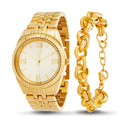 Imagen de Gold-Tone Stainless Steel Roman Numeral Watch and Rolo Chain Bracelet Set