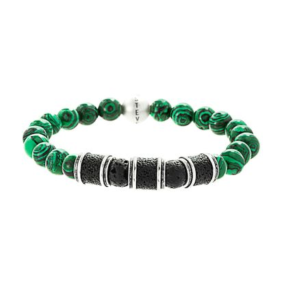 Imagen de Steve Madden Silver-Tone Stainless Steel Men's Lava Rondelle/Malachite Beaded Stretch Bracelet