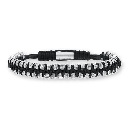 Imagen de Steve Madden Oxidized Stainless Steel Black Cord Woven Adjustable Bracelet