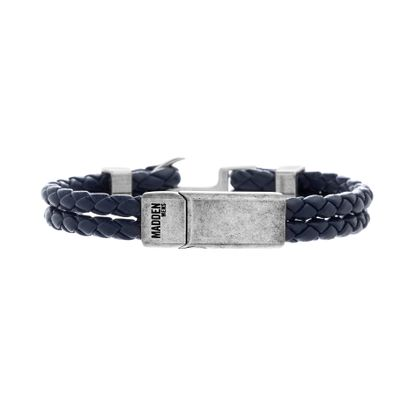 Picture of Steve Madden Silver-Tone Stainless Steel Aged Finish Blue Leather Braided Bracelet
