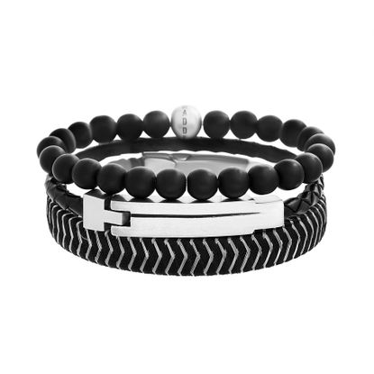 Picture of Steve Madden Stainless Steel Black Braided Leather and Black Beaded Triple Bracelet Set for Men