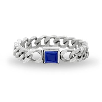Imagen de Steve Madden Men's Blue Simulated Lapis Square Design Curb Chain Bracelet in Stainless Steel, Silver-Tone, One Size