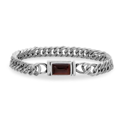 Imagen de Steve Madden Men's Red Simulated Tiger's Eye Square Accent Franco Chain Bracelet in Stainless Steel, Silver-Tone, One Size