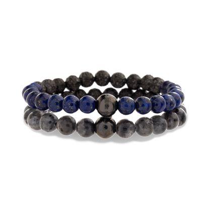 Imagen de Steve Madden Gunmetal Stainless Steel Hammered Grey and Blue Stone Beaded Stretch Bracelet Set for Men