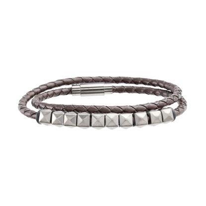 Picture of Steve Madden Black-Tone Stainless Steel Men's Black Beads Leather Wrap Bracelet