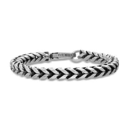 Picture of Steve Madden Men's Burnished Silver-Tone Stainless Steel 9 Twisted Bracelet