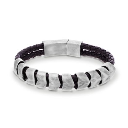 Imagen de Steve Madden Burnished Silver-Tone Stainless Steel Men's Facet Bead Station Black Braided Leather Bracelet
