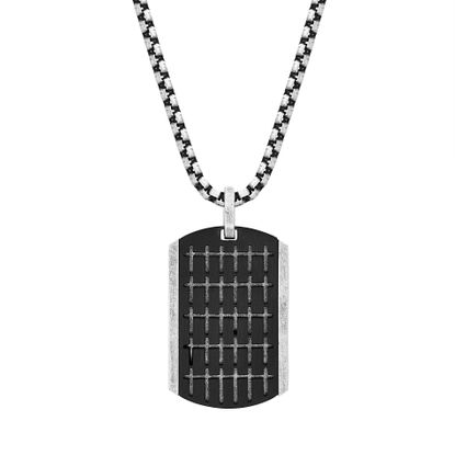 "Picture of Steve Madden Men's 18"" Small Cross Design Dogtag Necklace with Box Chain in Two-Tone Stainless Steel"