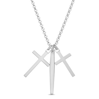 "Imagen de Steve Madden 28"" Oxidized Stainless Steel Two-Tone Cross and Bar Trio Cross Pendant Necklace for Men"