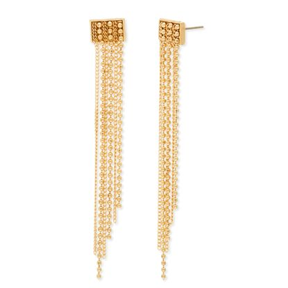 Imagen de Steve Madden Gold-Tone Rectangle with Dangling Bead and Cable Chain Earrings