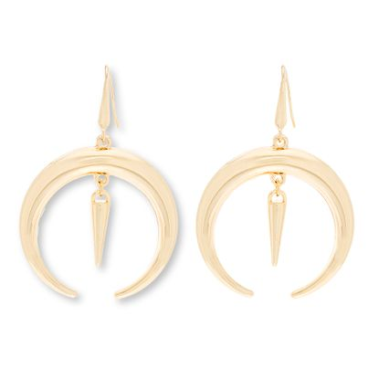 Imagen de Steve Madden Gold-Tone Crescent Fish Hook Earring