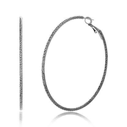 Imagen de STEVE MADDEN 60mm Hematite Plated Textured Hoop Earrings For Women