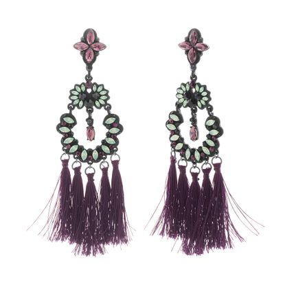 Imagen de Steve Madden Black IP Plated Crystal Flower Tassel Post Earring
